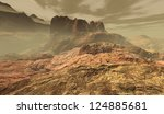 Dust-storm transiting rocky citadel in igneous Martian uplands - stock photo