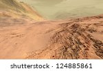 Steep stratified Martian escarpment with granular regolith drifts - stock photo