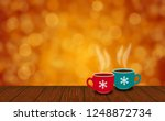 cups of christmas on vintage... | Shutterstock . vector #1248872734