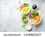 two assorted poke bowls with... | Shutterstock . vector #1248882607