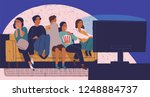 group of friends sitting on... | Shutterstock .eps vector #1248884737