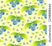 bilberries and leaves seamless... | Shutterstock .eps vector #1248888664