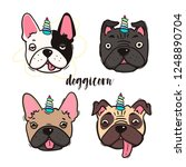 doggicorn. cute pugs and french ... | Shutterstock .eps vector #1248890704