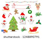 cute christmas clip art with... | Shutterstock .eps vector #1248890791