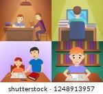 homework banner set. cartoon... | Shutterstock .eps vector #1248913957