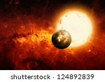 Abstract scientific background - exploding planet, big sun, red galaxy. Elements of this image furnished by NASA/JPL-Caltech - stock photo