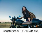 young woman drive with... | Shutterstock . vector #1248935551