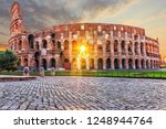 The Coliseum In Rome At Sunset...