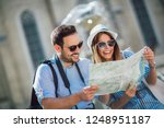 tourist couple in love enjoying ... | Shutterstock . vector #1248951187