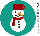 snowman icon on green...