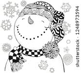 Cheerful Snowman And Snowflakes....
