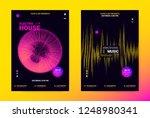 techno music poster. wave flyer ... | Shutterstock .eps vector #1248980341