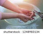 women wash their hands properly ... | Shutterstock . vector #1248983134