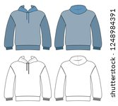 hoodie man template  front ... | Shutterstock . vector #1248984391