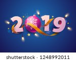 new year greeting card 2019.  | Shutterstock .eps vector #1248992011