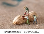 toy figures of lumbermen with a ... | Shutterstock . vector #124900367