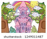 fantastic castle with trees... | Shutterstock .eps vector #1249011487