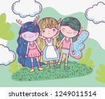 girls and boy fantastic... | Shutterstock .eps vector #1249011514