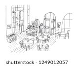 Stock vector cafe interior hand drawn linear illustration restaurant with furnishing black ink pen sketch 1249012057