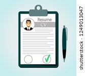 resume in a flat style. check... | Shutterstock .eps vector #1249013047