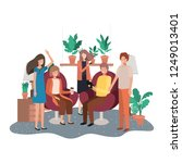 group of people using... | Shutterstock .eps vector #1249013401