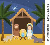 joseph with mary and jesus in... | Shutterstock .eps vector #1249013761