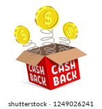 cashback icon. the red box  the ... | Shutterstock .eps vector #1249026241
