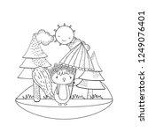 cute little chipmunk with... | Shutterstock .eps vector #1249076401