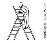 man on a ladder design | Shutterstock .eps vector #1249097014