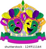 mardi gras comedy and  tragedy ... | Shutterstock .eps vector #124911164