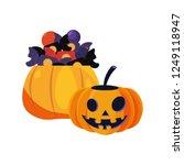 halloween pumpkins with sweet... | Shutterstock .eps vector #1249118947