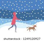 woman walking dog on leash in... | Shutterstock .eps vector #1249120927