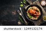 baked quail with oatmeal and... | Shutterstock . vector #1249132174