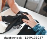 the manicurist removes the old... | Shutterstock . vector #1249139257