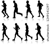 set of silhouettes. runners on... | Shutterstock . vector #1249141297