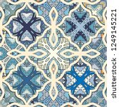 vector patchwork quilt pattern. ... | Shutterstock .eps vector #1249145221