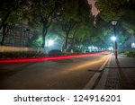 Light Trail In A Road At Night