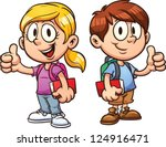 school kids. vector clip art... | Shutterstock .eps vector #124916471