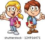 school kids. vector clip art... | Shutterstock .eps vector #124916471
