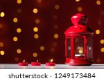 lantern with candles on a shiny ... | Shutterstock . vector #1249173484