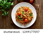 tasty spaghetti with minced... | Shutterstock . vector #1249177057