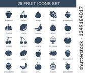 fruit icons. set of 25 filled... | Shutterstock .eps vector #1249184017
