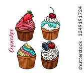 set of yummy cute cupcakes.... | Shutterstock .eps vector #1249191724