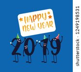 happy new year 2019 kawaii... | Shutterstock .eps vector #1249198531