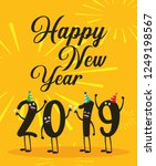 happy new year 2019 kawaii... | Shutterstock .eps vector #1249198567