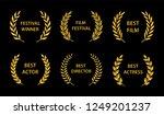 film awards. gold award wreaths ... | Shutterstock .eps vector #1249201237