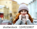 closeup portrait of pretty red... | Shutterstock . vector #1249210837
