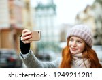 beautiful ginger model in... | Shutterstock . vector #1249211281