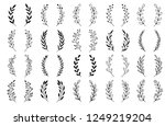 hand drawn set of floral  plant ... | Shutterstock .eps vector #1249219204