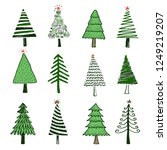 hand drawn set of christmas... | Shutterstock .eps vector #1249219207